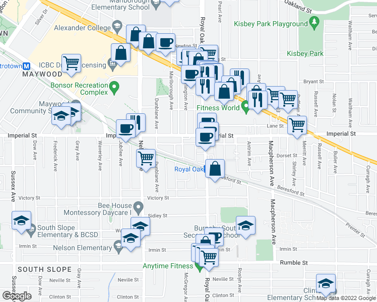 map of restaurants, bars, coffee shops, grocery stores, and more near 6868 Burlington Avenue in Burnaby