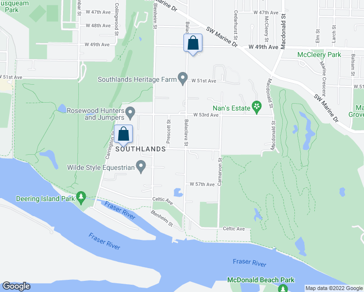 map of restaurants, bars, coffee shops, grocery stores, and more near 7083 Balaclava Street in Vancouver