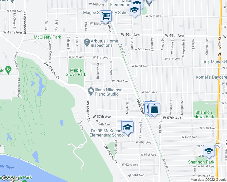 map of restaurants, bars, coffee shops, grocery stores, and more near 6989 Arbutus Diversion in Vancouver
