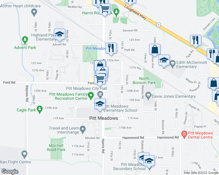 map of restaurants, bars, coffee shops, grocery stores, and more near 19236 Ford Road in Pitt Meadows