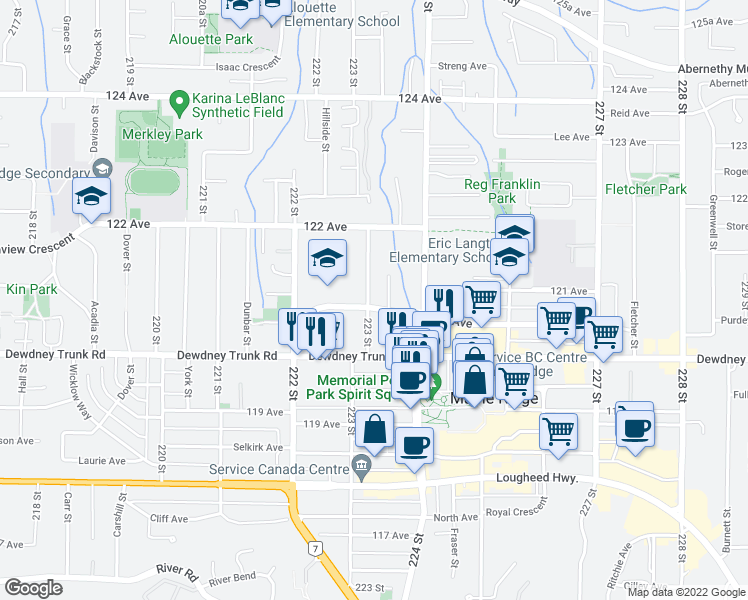 map of restaurants, bars, coffee shops, grocery stores, and more near 12084 223 Street in Maple Ridge