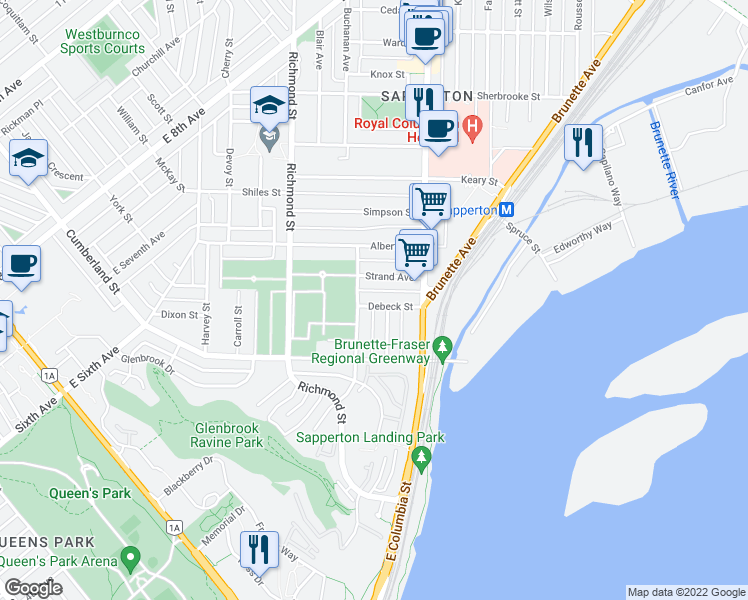 map of restaurants, bars, coffee shops, grocery stores, and more near 129 Debeck Street in New Westminster
