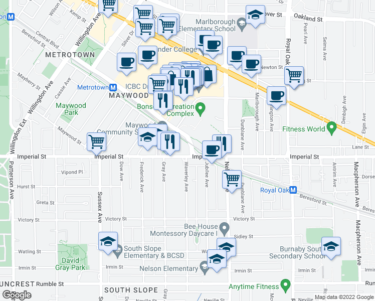 map of restaurants, bars, coffee shops, grocery stores, and more near 4695 Imperial Street in Burnaby