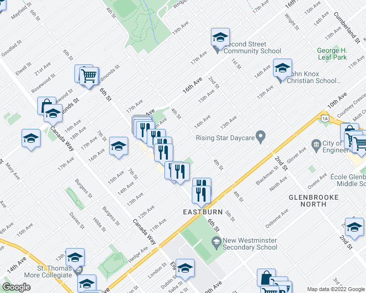 map of restaurants, bars, coffee shops, grocery stores, and more near 7964 14th Avenue in Burnaby