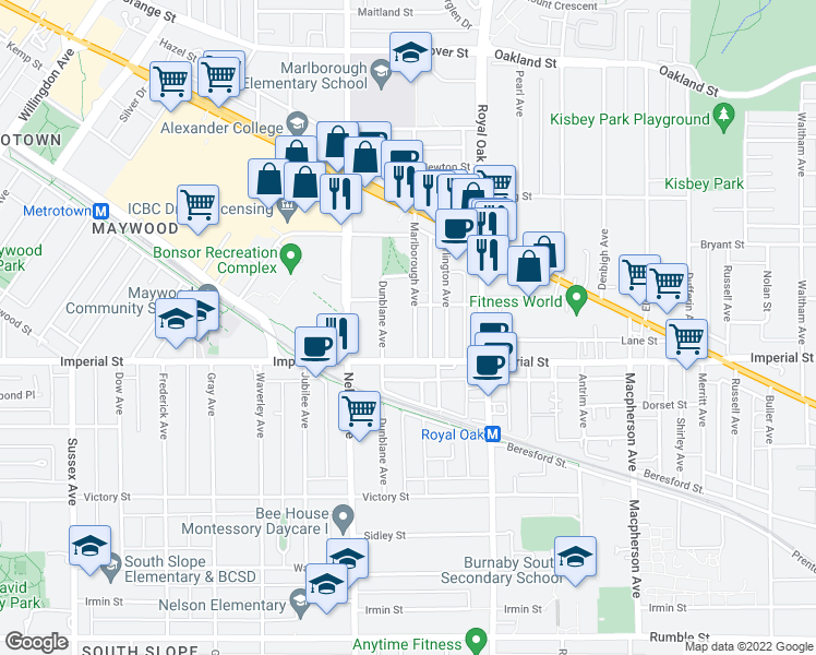 map of restaurants, bars, coffee shops, grocery stores, and more near 6691 Marlborough Avenue in Burnaby