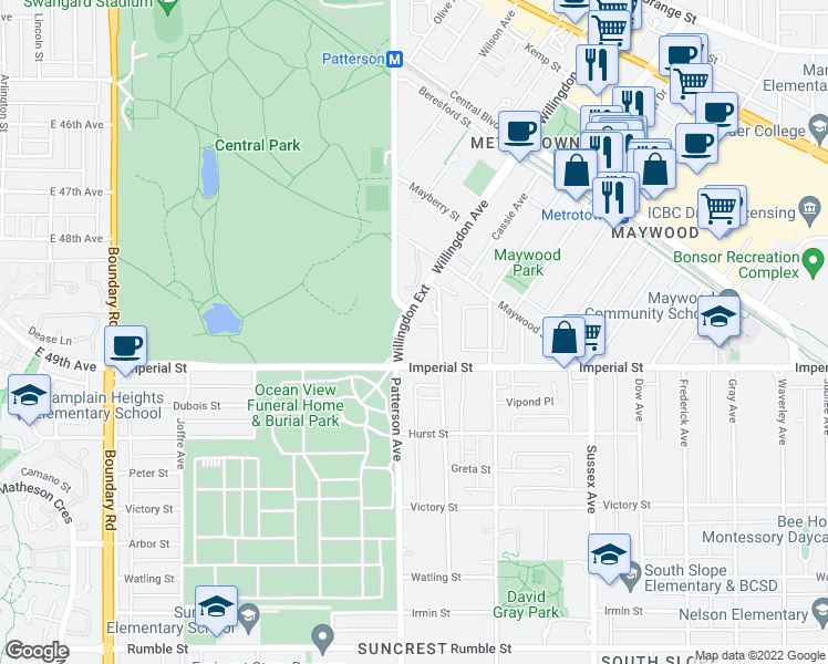 map of restaurants, bars, coffee shops, grocery stores, and more near 6689 Willingdon Avenue in Burnaby