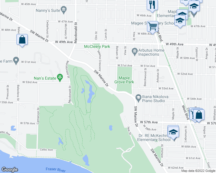 map of restaurants, bars, coffee shops, grocery stores, and more near Southwest Marine Drive in Vancouver