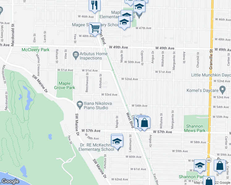map of restaurants, bars, coffee shops, grocery stores, and more near 2015 West 53rd Avenue in Vancouver
