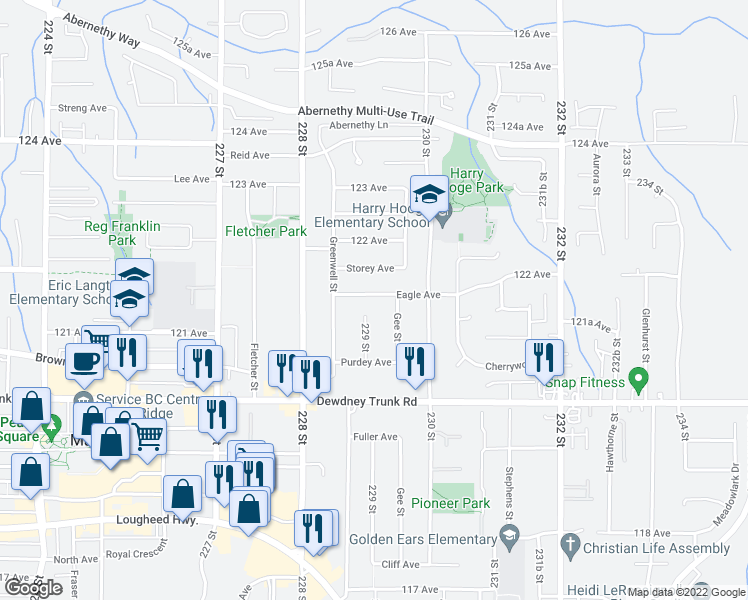 map of restaurants, bars, coffee shops, grocery stores, and more near 22918 Eagle Avenue in Maple Ridge
