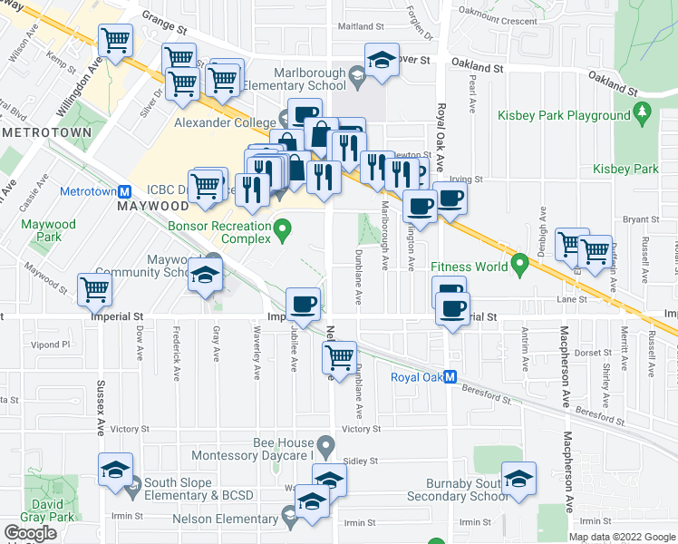 map of restaurants, bars, coffee shops, grocery stores, and more near 4900 Lennox Lane in Burnaby