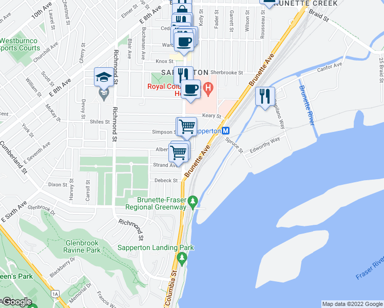 map of restaurants, bars, coffee shops, grocery stores, and more near 200 Nelson's Crescent in New Westminster