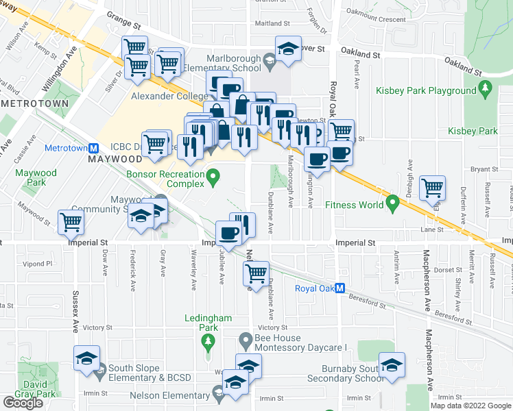 map of restaurants, bars, coffee shops, grocery stores, and more near Lennox Street in North Vancouver