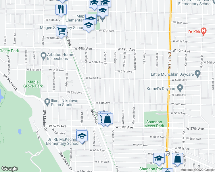 map of restaurants, bars, coffee shops, grocery stores, and more near 6868 Cypress Street in Vancouver