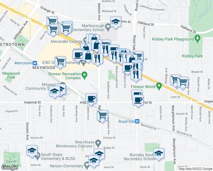 map of restaurants, bars, coffee shops, grocery stores, and more near 6599 Dunblane Avenue in Burnaby