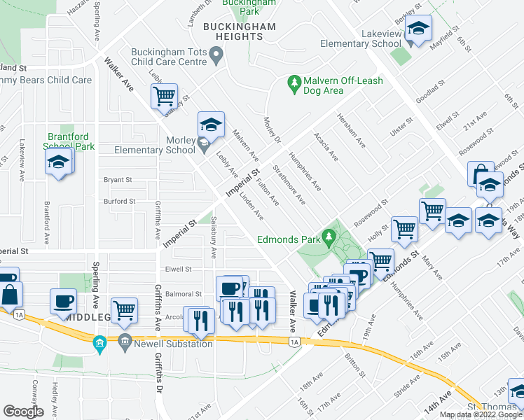 map of restaurants, bars, coffee shops, grocery stores, and more near 6706 Linden Avenue in Burnaby