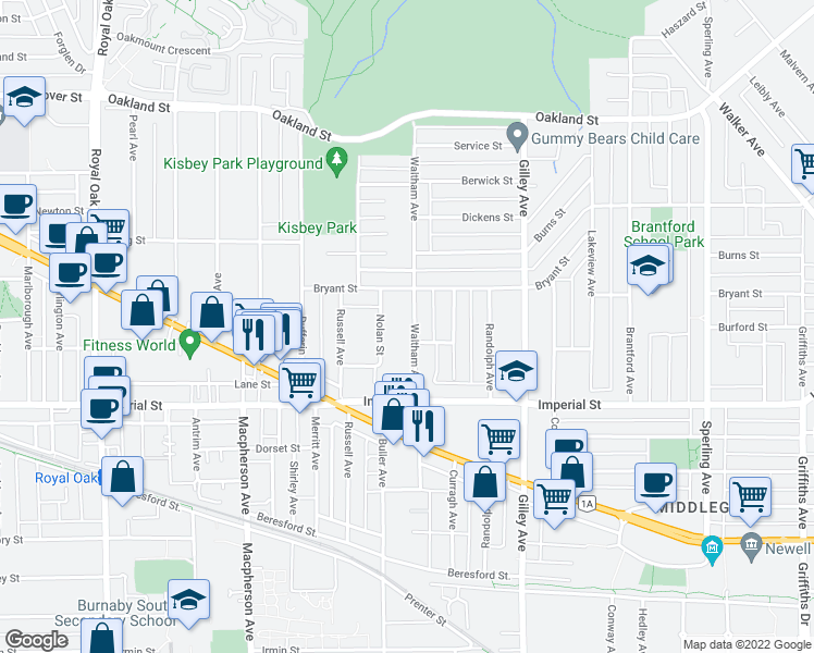 map of restaurants, bars, coffee shops, grocery stores, and more near 6591 Waltham Avenue in Burnaby