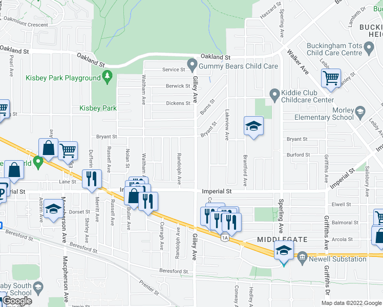 map of restaurants, bars, coffee shops, grocery stores, and more near 6585 Gilley Avenue in Burnaby