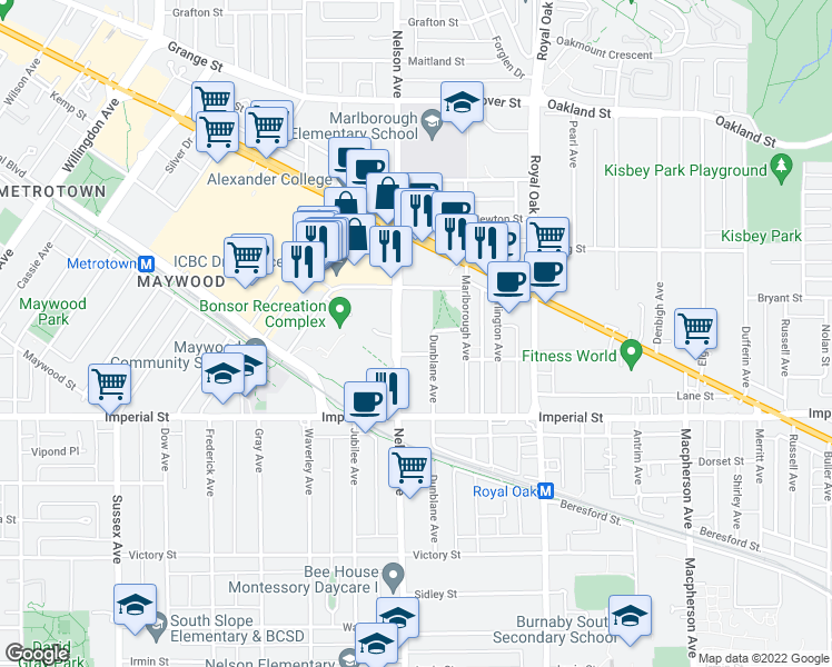 map of restaurants, bars, coffee shops, grocery stores, and more near 6560 Nelson Avenue in Burnaby
