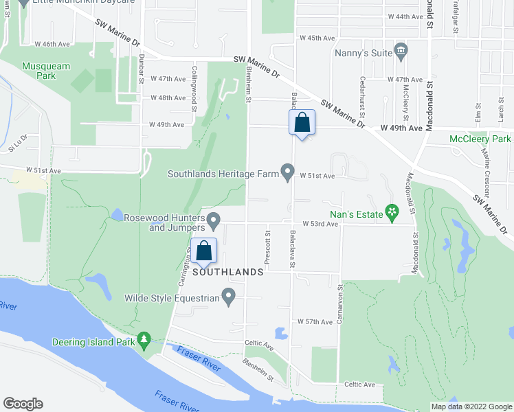 map of restaurants, bars, coffee shops, grocery stores, and more near 6822 Blenheim Street in Vancouver
