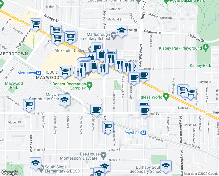 map of restaurants, bars, coffee shops, grocery stores, and more near 6550 Nelson Avenue in Burnaby
