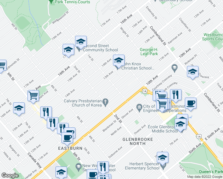 map of restaurants, bars, coffee shops, grocery stores, and more near 8174 12th Avenue in Burnaby