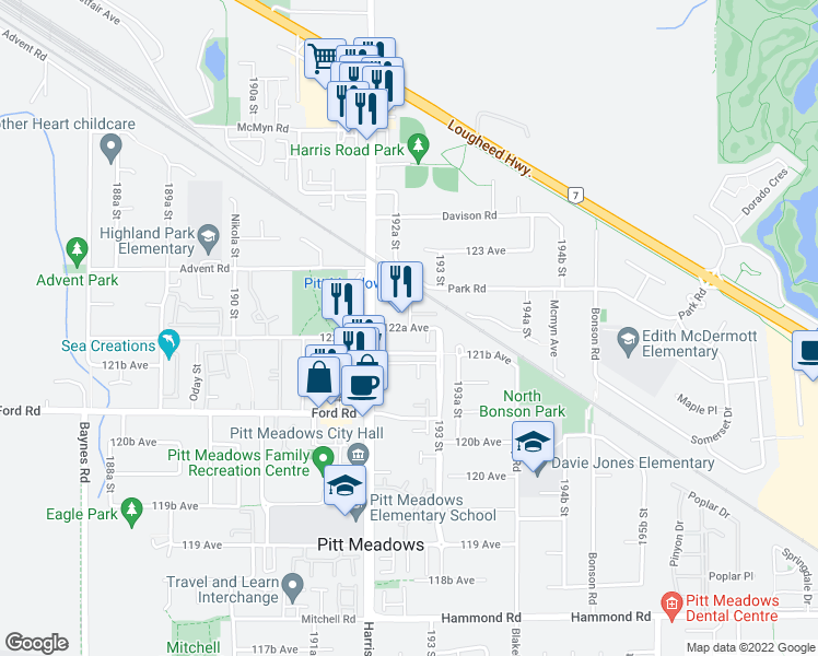 map of restaurants, bars, coffee shops, grocery stores, and more near 19259 122A Avenue in Pitt Meadows