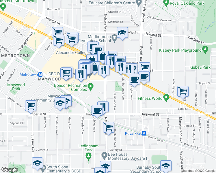 map of restaurants, bars, coffee shops, grocery stores, and more near 6522 Nelson Avenue in Burnaby