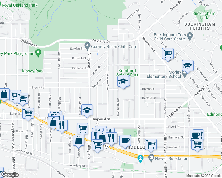 map of restaurants, bars, coffee shops, grocery stores, and more near 6427 Brantford Avenue in Burnaby
