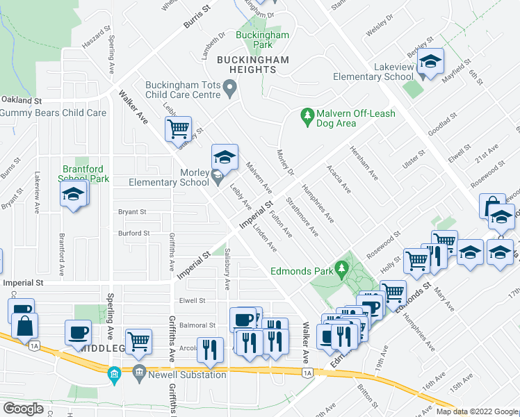 map of restaurants, bars, coffee shops, grocery stores, and more near 7365 Imperial Street in Burnaby
