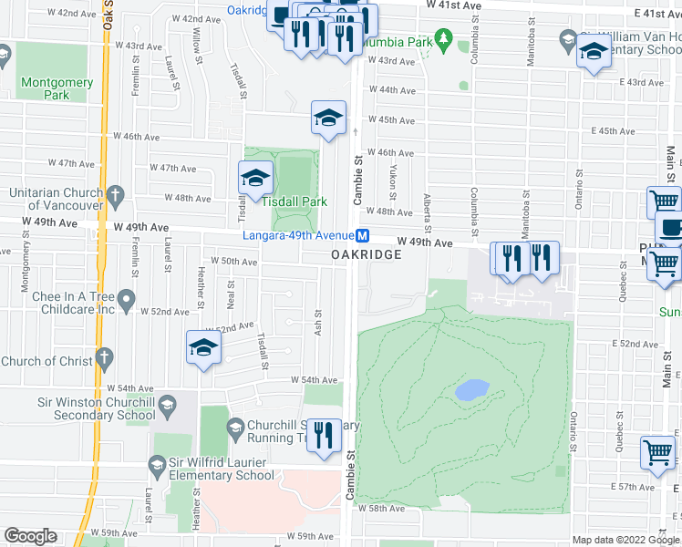 map of restaurants, bars, coffee shops, grocery stores, and more near 6633 Cambie Street in Vancouver