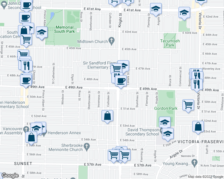 map of restaurants, bars, coffee shops, grocery stores, and more near 1366 East 49th Avenue in Vancouver
