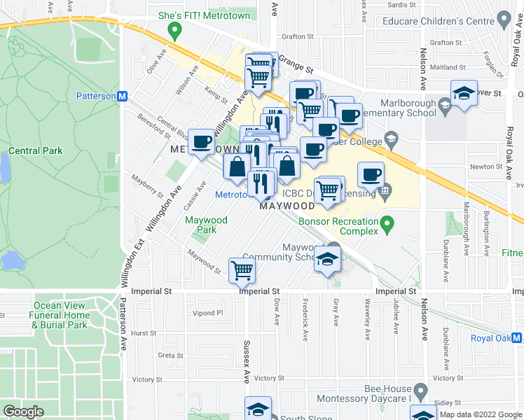 map of restaurants, bars, coffee shops, grocery stores, and more near 6461 Telford Avenue in Burnaby