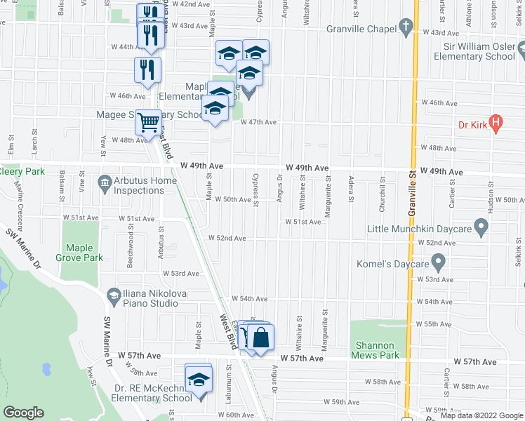 map of restaurants, bars, coffee shops, grocery stores, and more near 6638 Cypress Street in Vancouver