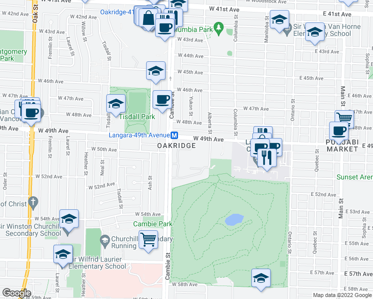 map of restaurants, bars, coffee shops, grocery stores, and more near 6538 Pinehurst Drive in Vancouver