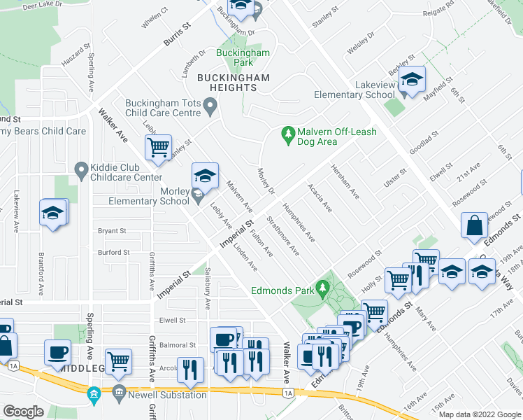 map of restaurants, bars, coffee shops, grocery stores, and more near 7415 Imperial Street in Burnaby