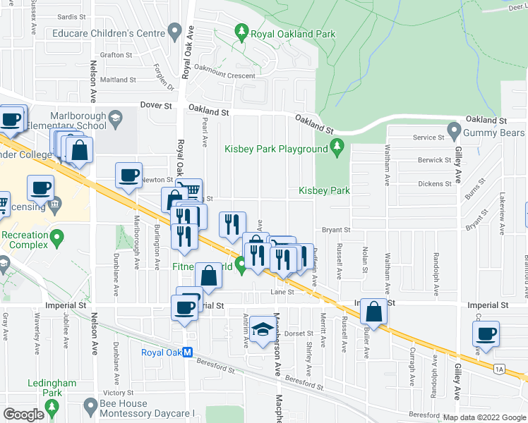 map of restaurants, bars, coffee shops, grocery stores, and more near 6508 Denbigh Avenue in Burnaby