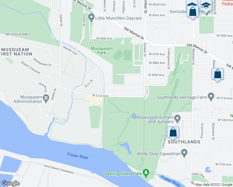 map of restaurants, bars, coffee shops, grocery stores, and more near 3839 West 51st Avenue in Vancouver
