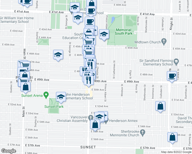 map of restaurants, bars, coffee shops, grocery stores, and more near 6475 Chester Street in Vancouver