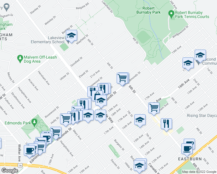 map of restaurants, bars, coffee shops, grocery stores, and more near 7811 Wedgewood Street in Burnaby