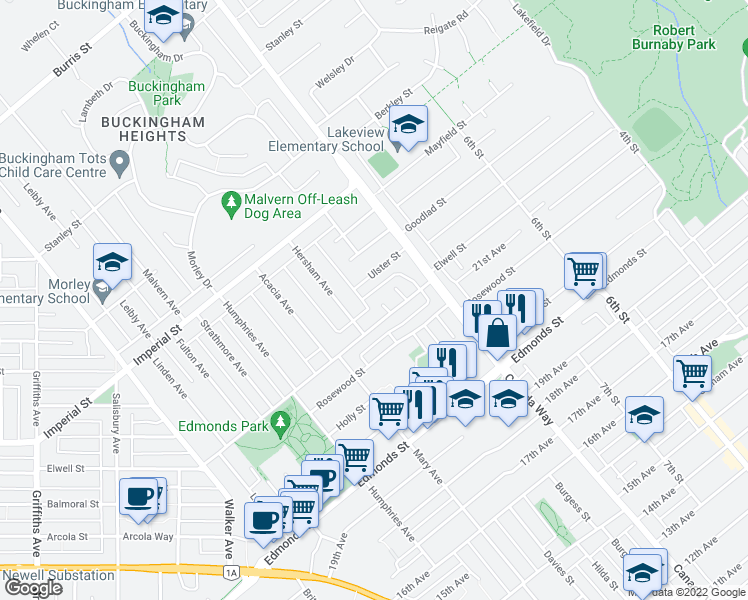 map of restaurants, bars, coffee shops, grocery stores, and more near 6847 Noelani Place in Burnaby