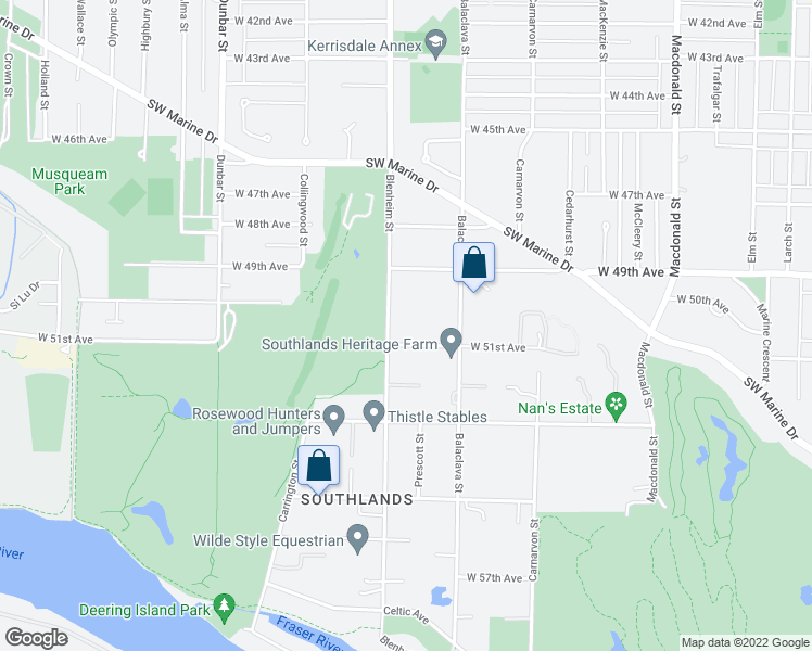 map of restaurants, bars, coffee shops, grocery stores, and more near 6630 Blenheim Street in Vancouver