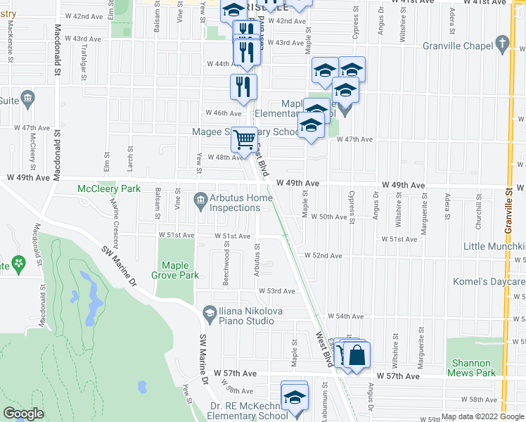 map of restaurants, bars, coffee shops, grocery stores, and more near 6632 Arbutus Street in Vancouver