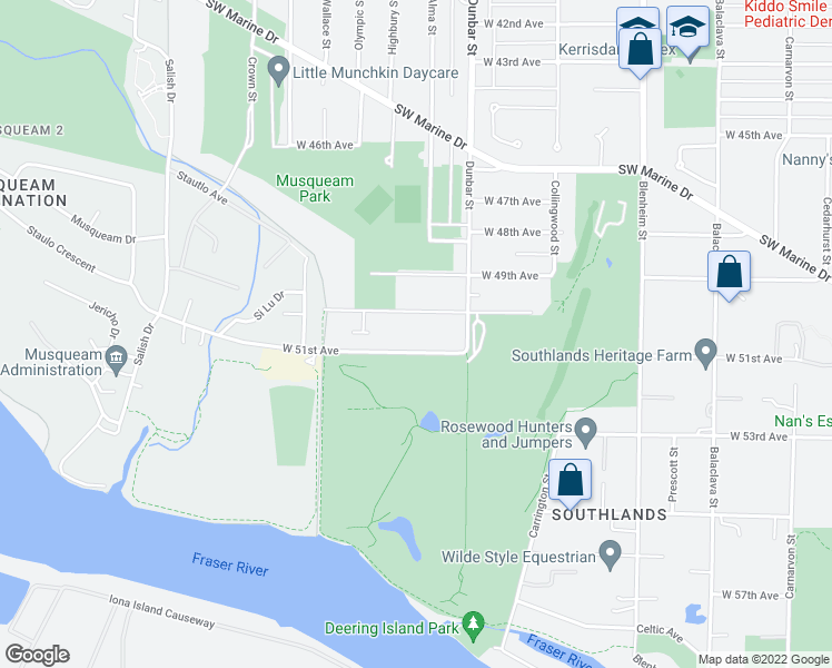 map of restaurants, bars, coffee shops, grocery stores, and more near 3751 West 51st Avenue in Vancouver