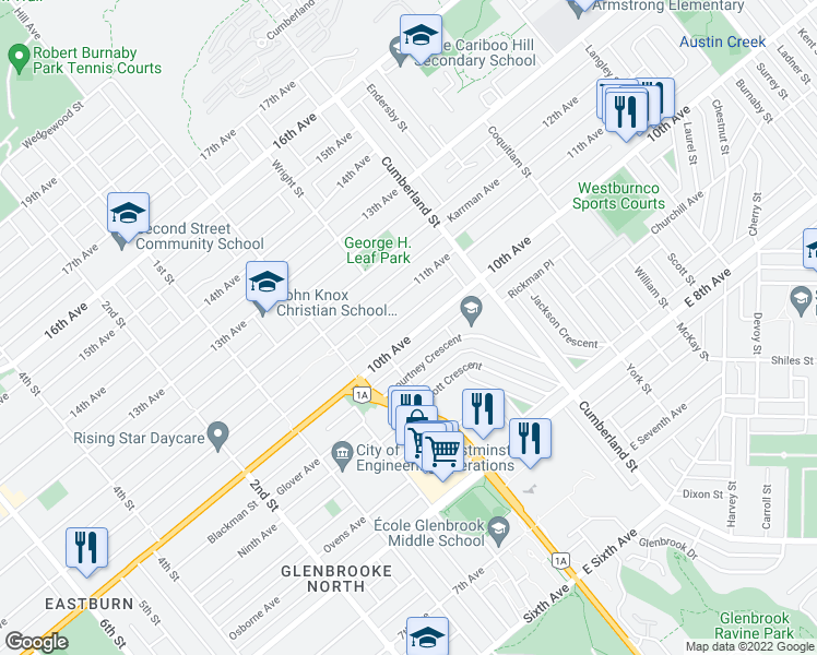 map of restaurants, bars, coffee shops, grocery stores, and more near 8399 Tenth Avenue in Burnaby