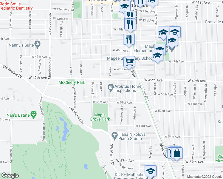 map of restaurants, bars, coffee shops, grocery stores, and more near 6576 Yew Street in Vancouver