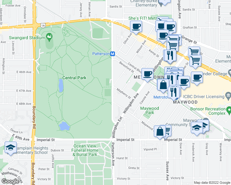 map of restaurants, bars, coffee shops, grocery stores, and more near 4200 Mayberry Street in Burnaby