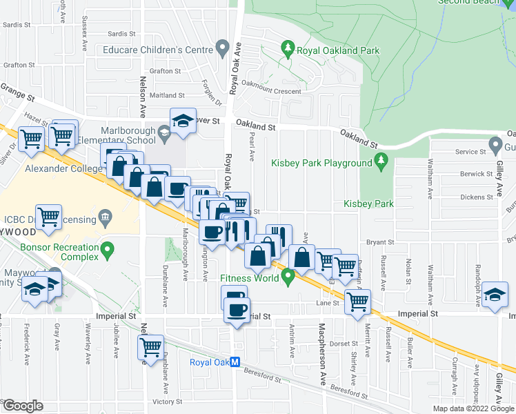 map of restaurants, bars, coffee shops, grocery stores, and more near 5335 Irving Street in Burnaby