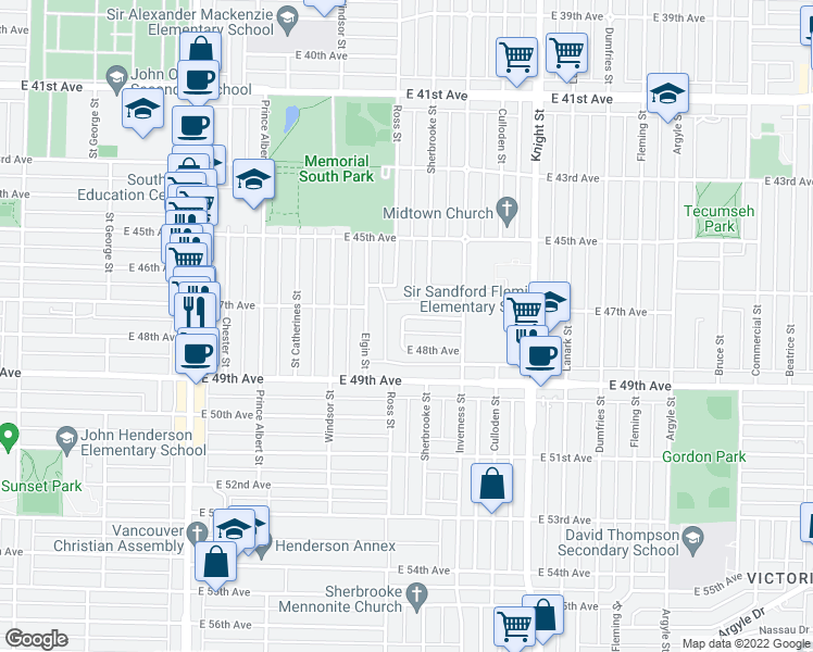 map of restaurants, bars, coffee shops, grocery stores, and more near 6360 Ross Street in Vancouver
