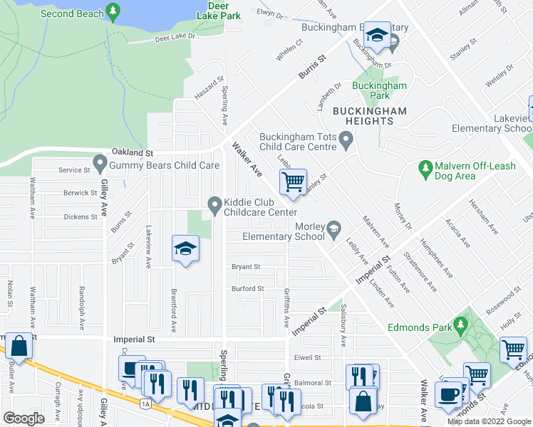 map of restaurants, bars, coffee shops, grocery stores, and more near 6820 Stanley Street in Burnaby