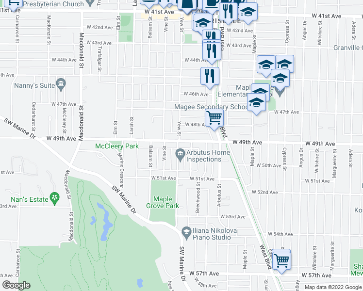 map of restaurants, bars, coffee shops, grocery stores, and more near 2194 West 49th Avenue in Vancouver